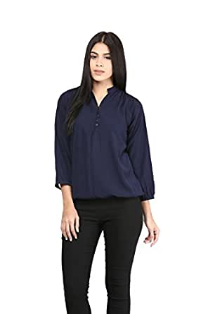 Mayra Women's Polyster Top (1602T09242_S Navy Blue)