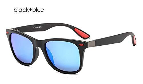 Modemarkendesigner Polarisierte Sonnenbrille Männer Frauen Driving Square Frame Sonnenbrille Männliche Schutzbrille Shades Beschichtung Spiegel Weiblich (Lenses Color : Black blue)