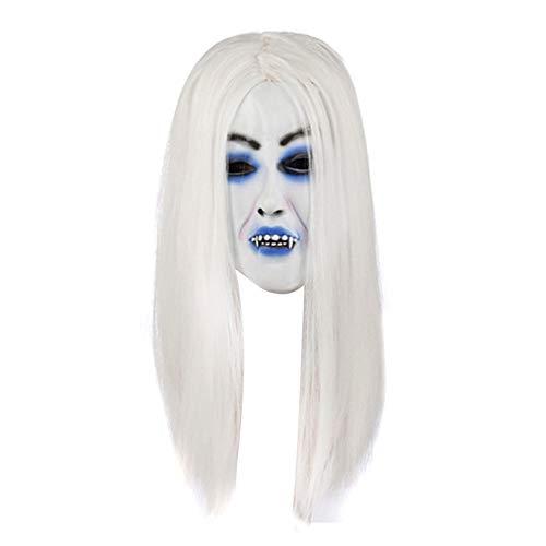 Youkara Halloween Scary Sadako Maske weiß Haar Halloween Kostüm Maske Latex Ohne Beed (Horror Ghost Maske (Halloween-kostüme Masken Ohne Scary)