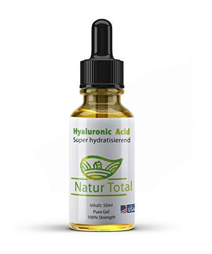 Natur Total Hyaluronsäure Serum 50ml: Anti Aging Anti-Falten - Original Gesichtsfeuchtigkeitscreme für trockene Haut & feine Linien - lässt die Haut voll und rundlich wirken