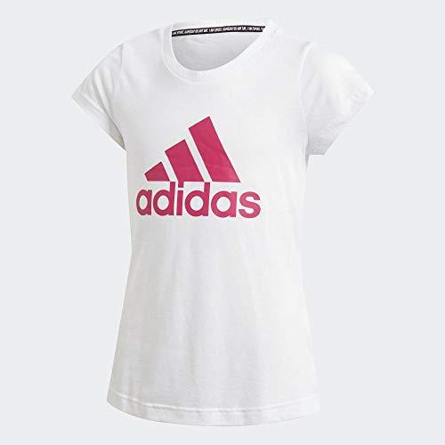 Adidas must haves bos t-shirt, maglietta bambina, bianco/semi solar pink, 11-12a