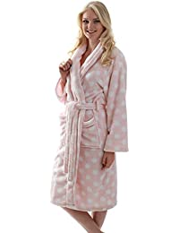 b5ee41b2b80784 Bademantel Morgenmantel Saunamantel Premium rosa mit weißen Tupfen für  Damen und Mädchen Größe ...