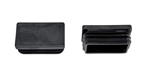 SN-TEC Rohrstopfen/Fußkappe / Pfostenkappe/Lamellenstopfen für Vierkantrohr, Farbe: Schwarz, 50x30mm (10 Stück)