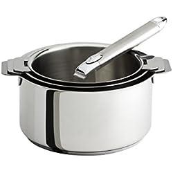 Cristel-S3CZ-Série de 3 casseroles inox 16-18-20cm+ 1 poignée amovible inox ZENITH