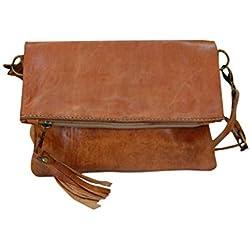 Bolso de mujer de piel, vintage artesanal de cuero simple (marron natural)