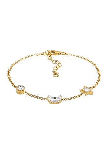 Elli Damen Echtschmuck Armband Astro Stern Mond mit Swarovski Kristalle in 925 Sterling Silber 16 cm Länge