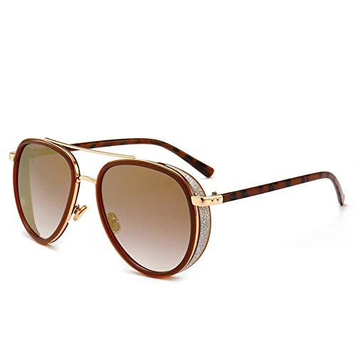 Qiutianchen Neue Sonnenbrillen Herren und Damen runde retro polarisierte Sonnenbrille Retro Klassiker Leichtmetall Steampunk Rahmen UV 400@Tee Frame Doppeltee