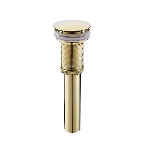 KES Bonde de Lavabo sans Trop Plein Salle de Bain Pop up Bonde de Vidage Universal Laiton Or, S2008D-4