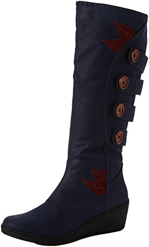 Joe Browns Damen Funky and Fabulous Wedge Boots Stiefel, Blau (Blue A), 42 EU (Knopf Fabulous)