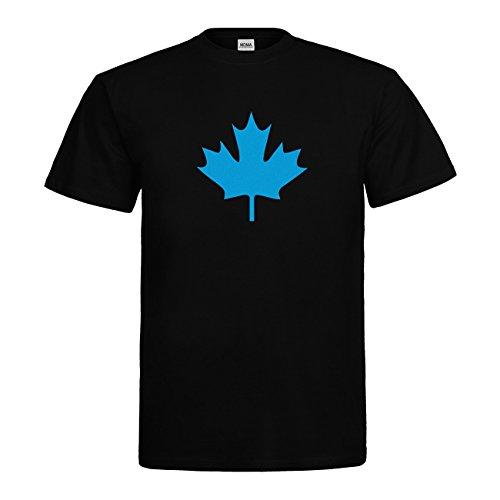 MDMA T-Shirt Kanada Ahorn Blatt Canada Leaf N14-mdma-t00655-22 Textil black / Motiv hellblau Gr. M -
