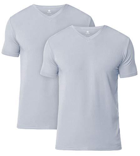 LAPASA 2er Pack Herren T-Shirts - SUPER WEICHES Micromodal - Business Kurzarm Unterhemd mit Rundhalsausschnitt/V-Ausschnitt Für Männer M07 & M08 MEHRWEG (XL, V-Ausschnitt: Hellgrau) - Leichtes T-shirt