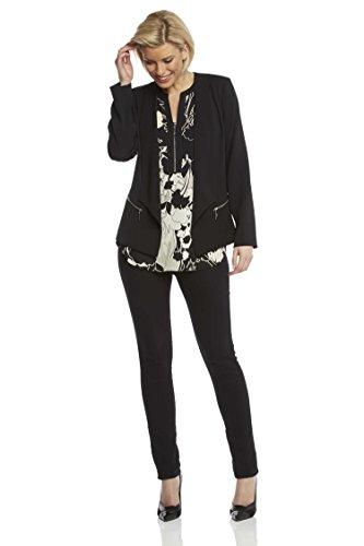 Roman Originals - Blazer Avec Détail Zip Confortable Vestes Élégant Bureau Été Femme - Noir Noir