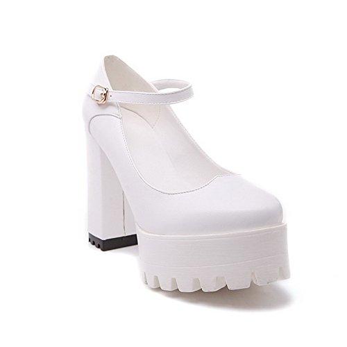 AllhqFashion Damen Rund Zehe Schnalle Rein Hoher Absatz Pumps Schuhe Weiß