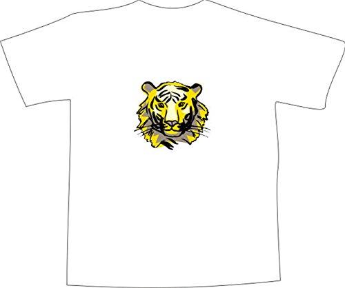 T-Shirt E777 Schönes T-Shirt mit farbigem Brustaufdruck - Logo / Grafik - Comic Design - Kopf von schönem Tiger Weiß
