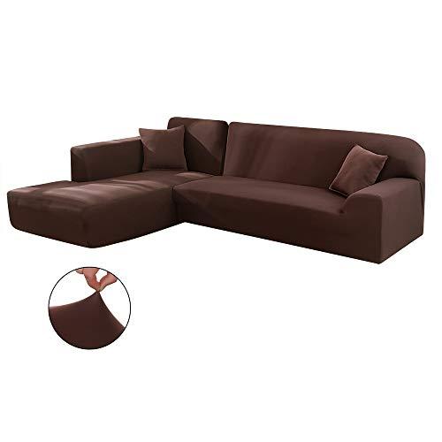 Copridivano con penisola elasticizzato chaise longue sofa cover componibile in poliestere a forma di l è composto da 2pcs (marrone, 3 posti+3 posti)