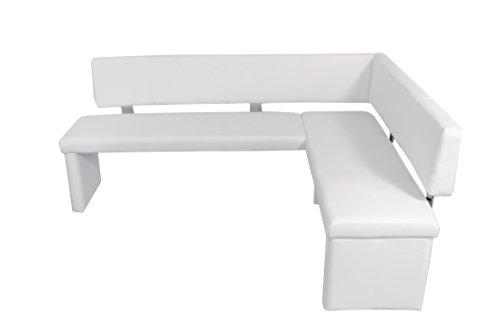CAVADORE Eckbank links CHARISSE / Küchen-Eckbank mit langem Schenkel links / Gepolsterte Kunstleder-Eckbank mit Rückenlehne in weiß / Innenmaß: 140 x 95 cm / 194 x 149 x 54 x 83 cm (B x B x T x H)