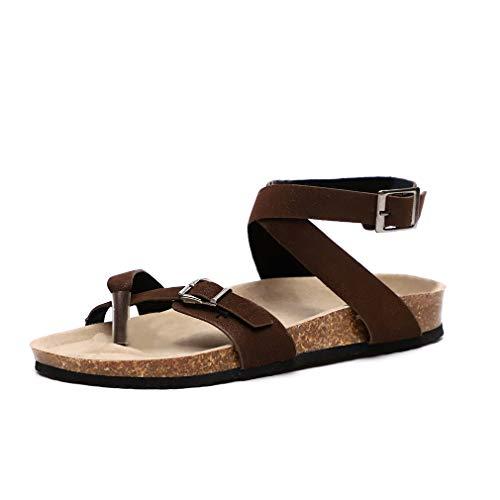 Mujer Sandalias Planas Verano Tobillo Correa Hebilla Zapatillas Plataforma Zapatos Plano Cómodos Negro...