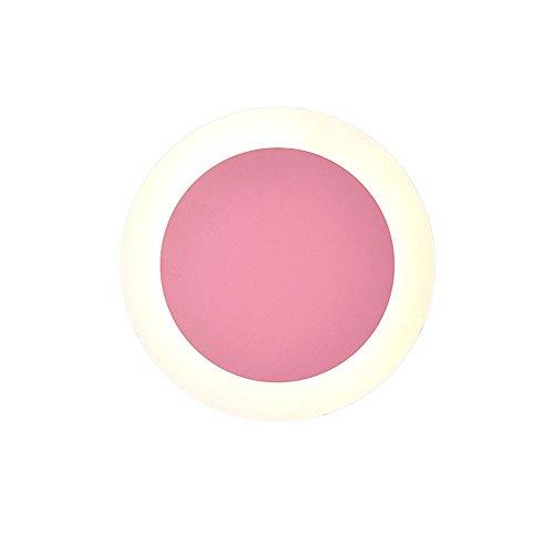Hello Wandleuchte, Moderne Persönlichkeit runde Farbe Wandleuchte Wohnzimmer Schlafzimmer Studie TV Wandleuchte Geburtstagsgeschenk (Color : Pink) -