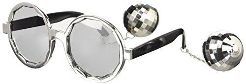 e mit Discokugeln silber (Disco Brille)