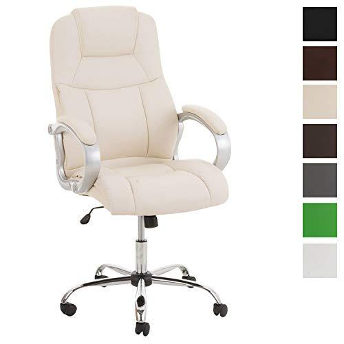 Clp poltrona ufficio in similpelle apoll xl - sedia scrivania ergonomica i sedia pc girevole con meccanismo oscillante e braccioli i poltrona direzionale portata max 150 kg crema