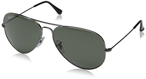 Ray-Ban Unisex Sonnenbrille Aviator Grau (Gestell: Gunmetal, Gläser: Polarized Grün Klassisch 004/58)), X-Large (Herstellergröße: 62)