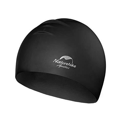 Wen Zhe Mode niedlichen männlichen Wasserdichten silikon Erwachsene Keine kopfschutz Ohr große Badekappe Badekappe (Color : Black)