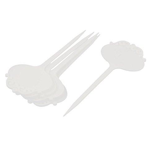 En forme de fleur Head Jardin Graine Tag Étiquette Marqueur bâton 5Pcs blanc