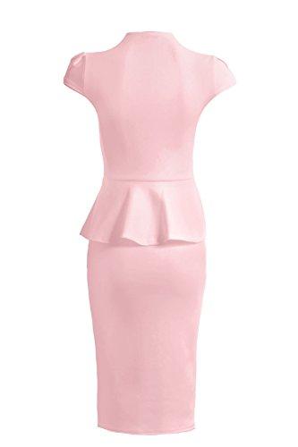 Saphir Femmes Col En V Jupe Péplum Mancheron Longueur Genou Femmes Robe Moulante Rose clair