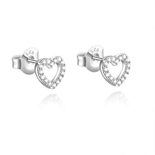 SaDiao orecchini in argento sterling 925 cuore amore con zirconi scintillanti per le donne ragazza festa della mamma, San Valentino, regali di Natale, scatola gratis (Argento)
