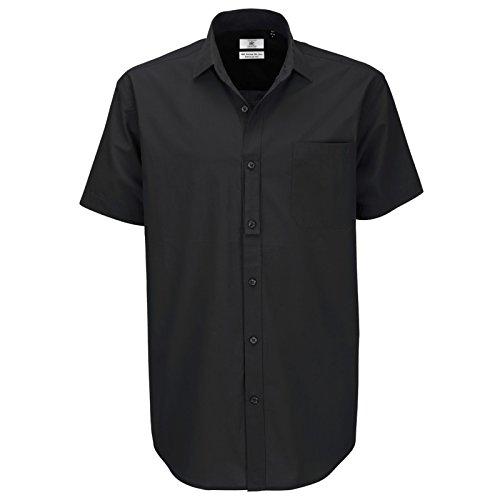 B&C Collection Herren Modern Business-Hemd Schwarz