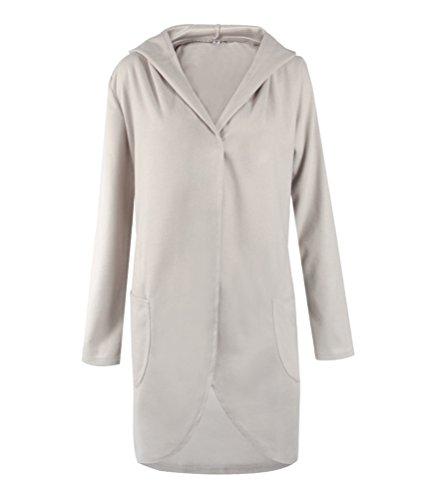 SunIfSnow Damen Duffle Mantel, Einfarbig Gr. L, hellgrau (Sweatshirt Hoody Champions Navy)