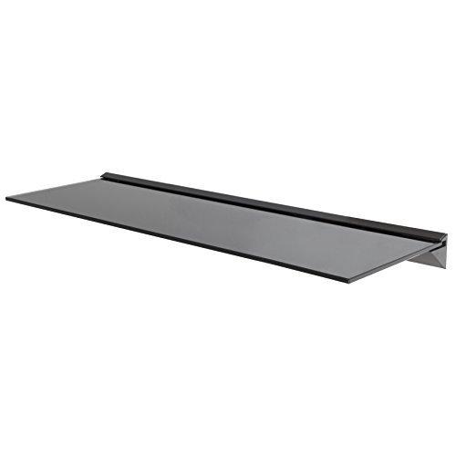 Wandregal aus Glas, ideal für Badezimmer, Küche, Wohnzimmer, Optik: schwebend, Schwarz, 80 cm