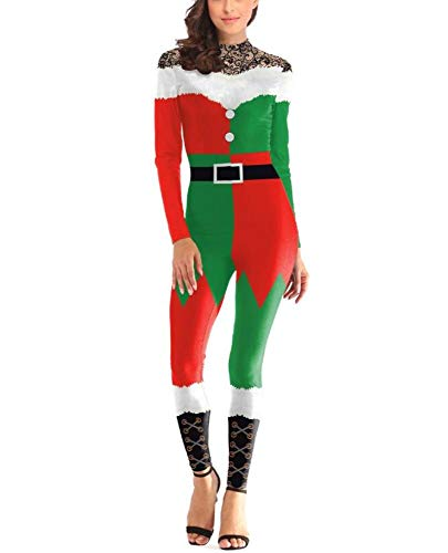 POIUYT Weihnachtsmann Kostüm Cos Santa Claus Kleidung Mode 3D Digital Gedruckten One-Piece Kleid Erwachsenen Kostüm Party Kostüm,Green-XL