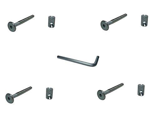 Komplettset Bettschrauben 4 St. M6 x 60 mm mit Quermutter M6x14mm + Innensechskant-Schlüssel Bettbeschlag Bett Beschlag SAMWERK