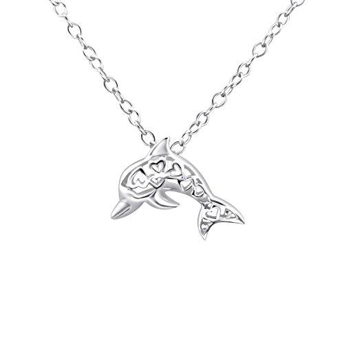 g echt-silber Delfin Charm-s Kette 3D deko Artikel Anhänger Damen Mädchen Kinder Silberhalskette-n Geschenk-e ()