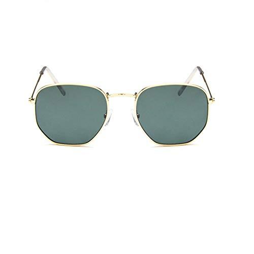 YYXXZZ Sonnenbrillen Farbe Polygon Pilot Sonnenbrillen Damen Herren Flache Brillen, Jin Qing