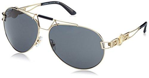 Versace 0ve2160 125287 63, occhiali da sole donna, oro (pale gold/grey), unica (taglia produttore: one size)