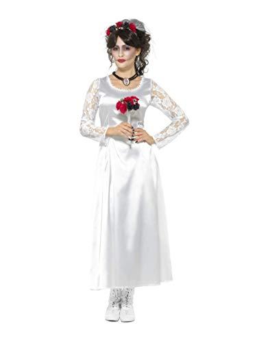 Smiffys Damen Tag der Toten Braut Kostüm, Kleid, Strauß und Haarband, Größe: 44-46, 48152