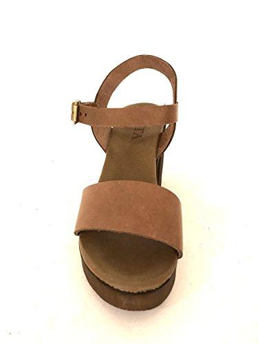 Sandali zoccoli in pelle con tacco alto e plateau cuoio nero MainApps Marrone