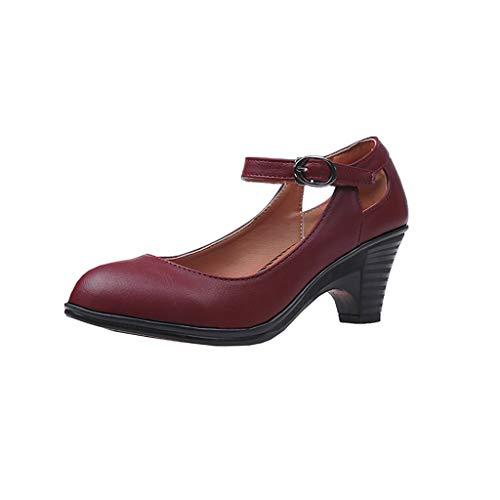 LHWY Sandalen Damen Sommer Frauen Teens Mädchen Mode Runde Zehe Quadratische Ferse Schnalle Einzelne Schuhe Dicke High Heels Vintage Retro Elegant