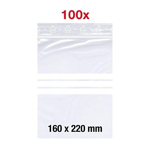 100 X Druckverschlußbeutel | 160x220 mm | DIN A5 | 50 mµ Stark | mit Beschriftungsfeld | LDPE | Transparent | Gefrierbeutel | Lebensmittelecht | ZipLock | Flachbeutel Set