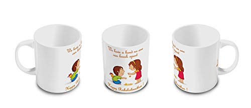 Indibni Bond That never Break Quote Printed White Ceramic Designer Coffee Mug 325 ml