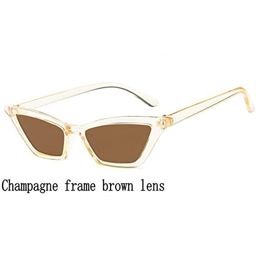 (sijiaqi Neue Sonnenbrille Frauen cat Eye Sonnenbrille Mode kleine Bunte transparent cat Eye Eyewear weibliche Sonnenbrille uv400,Champagne Brown)