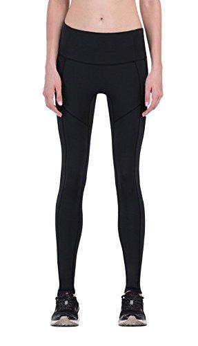 Nylon-gerippte Strumpfhose (Gringoo® Kompressions-Leggings für Damen, Workout, Strumpfhose, für Jogging, Fitness, Pilates, Yoga, Basisschicht Gr. X-Large, Black Plain)