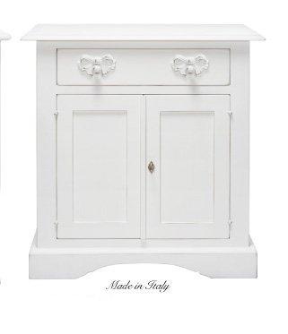Credenzino in legno stile vintage con un cassetto disponibile in diverse rifiniture L'ARTE DI NACCHI 604F/BG
