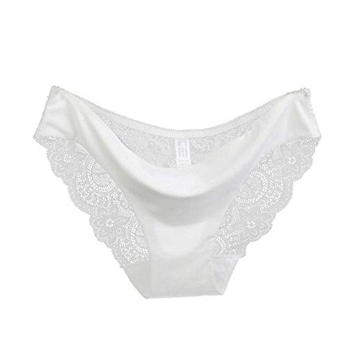 JiaMeng Lencería sexy 2018,Bragas de Encaje de Mujer Bragas de algodón sin Costura Bragas Huecas Cintura Baja Ropa Interior (XL, Blanco)