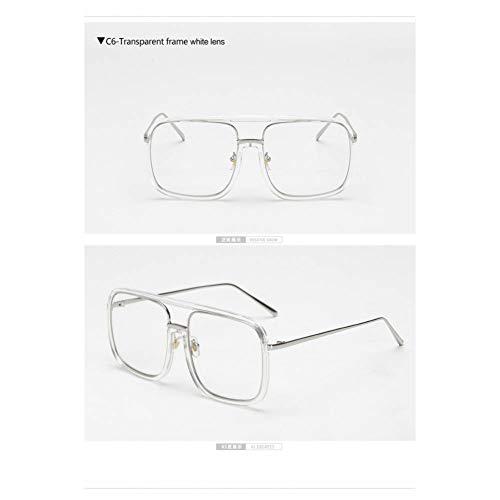 Taiyangcheng Transparente quadratische Brillengestell Frauen Schwarze Linse klar Designer große Brillen Brillenfassungen,weißer Rahmen
