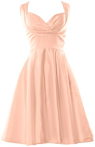 MACloth Women Fitted Sweetheart Knee length Wedding Party Bridesmaid Dress Peach Pink