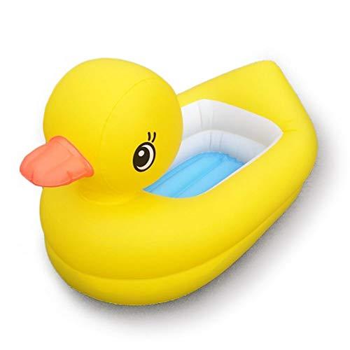 SuperGao Aufblasbare Badewanne Grün PVC Aufblasbare Kleine Gelbe Ente Wanne Aufblasbare Ente Baby Wanne 90x50x25cm