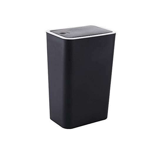 hlniubi Mülltrennsysteme Küchen-Abfalleimer Abfallbehälter fürs Bad Mülleimer Kunststoff Aufsteckküche mit Deckel 34x20x14cm schwarz